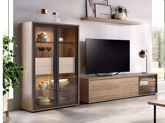 Muebles salon rustico composicin modular para salncomedor for Casa seys muebles