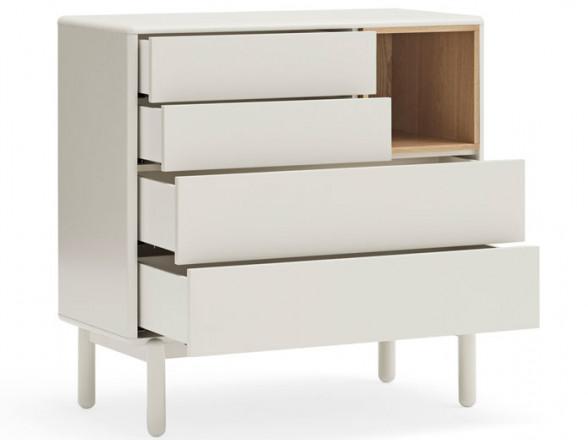 Aparador para salón lacado en blanco y tapa de madera natural