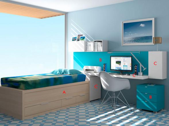 Dormitorio Juvenil Moderno Tegar Mobel Modelo 61