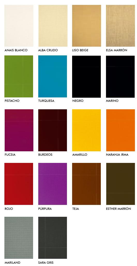 Acabados de telas Dralón en colores lisos en muebles para exterior de Hevea en tu tienda de muebles en Madrid